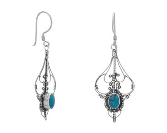 Vintage Inspired Ornate Sterling Silver Oval Reconstituted Turquoise Cut Out Design Earrings