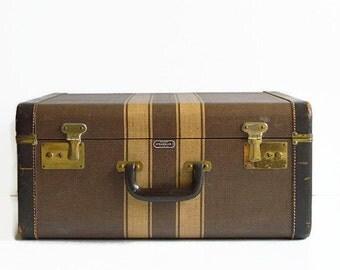 vintage striped tweed suitcase with key 1940s luggage