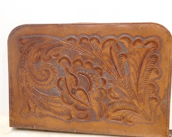 Vintage Briefcase, Hand Tooled Leather, Hallmarked, 50's, Mexico, Ornate Design Both Sides, Honey Brown Color, Great Condition, Compartments