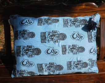 SALE     Sure T Shirt Upcycled Pillow Cover Ganesh And Om Design