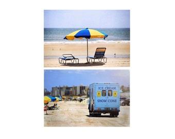 Blue Yellow Beach Photo Print Set, Beach Photography, Livingroom Bedroom Bathroom Coastal Nautical Ocean Tropical Decor, Home Decor Wall Art