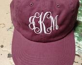 Personalized Monogrammed Baseball Cap Hat Ladies Girls Teens BaseBall Cap