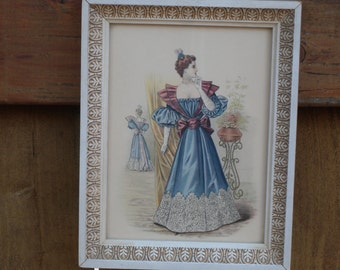 Small Early 1900s Vintage Fashion Framed Original Print in Beautiful Frame