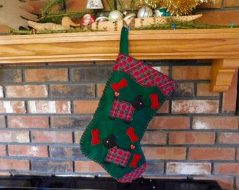 Handmade Christmas Stocking, Handsewn Felt Christmas Scottie Stocking, OOAK, Lined Holiday Decoration, Personalized Stocking