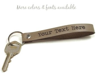 Personalized Key Fob, Leather Key Fob, Leather Key Chain, Gifts Under 15, Realtor Gifts, Groomsmen Gifts