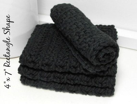 Crochet Cotton Dishcloths, Black Dishcloths, Hand Crochet Dishcloths, Set of 4 American Cotton
