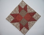Quilted Candle Mat - Vintage Fabrics  Red and Grey  -  Mug Rug - Country Style - Primitive