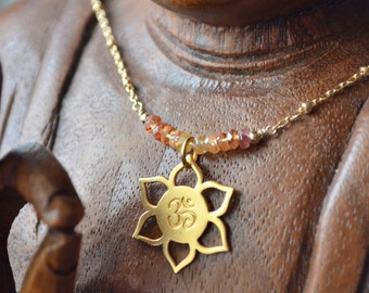 NEW! Sun Salutations Gold Vermeil Lotus Necklace with Sapphires