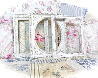Shabby Winter White Distressed Ornate Picture Photo Frames Wedding Baby Nursery Cottage Chic 8 x 10 READY TO SHIP