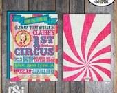 Circus Photo Invitation | Circus Birthday Invitation | Circus Party | Girl Circus Invite | Pink Blue Yellow | Address Labels | Printable