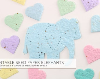 10 Light Blue Plantable Seed Paper Elephants - Large - READY-TO-SHIP - Baby Shower Favors, Birth Announcements, Birthday Party, Shower Gift