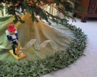 """54"""" Christmas Tree Skirt in Olive Green with hand cut and hand sewn flowers at the bottom.. """"FREE SHIPPING"""""""