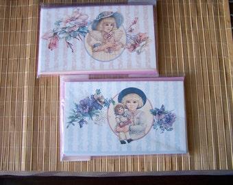 "Vintage 90's  ""JAN HAGARA""  Note Cards Romantic Victoriana Look 2 Packages"