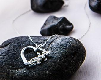 Gecko Necklace, Gecko Pendant, Heart Pendant, Love Lizards, Gecko Heart Pendant, Silver Lizard Jewelry, Silver Gecko Jewelry, Silver Heart