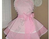 Valentine's Pink Hearts Womans Retro Apron Featuring Lace Trimmed Heart Shaped Bib & Tiered Skirt