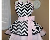 Retro Apron In Black And White Chevron Accented With Sweet Pink, Featuring Heart Shaped Bib...Perfect Valentine's Day Accessory