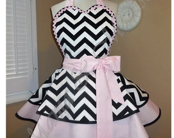 Retro Apron In Black And White Chevron Accented With Sweet Pink, Featuring Heart Shaped Bib