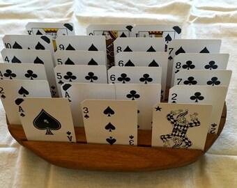 Oak playing card holder
