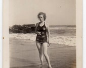 Woman Wearing Swimsuit On Beach Vintage Photo Swimwear Bathing Suit Antique Fashion  Photograph Paper Ephemera Travel Souvenir