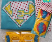 "40% OFF w CODE Aqua Reversible SuperKid Letter Cape ""E"" with matching Bolt Mask and Cuffs by Messy Kids Designs"