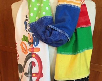 UPCYCLED t-shirt scarf ... Mickey Mouse ... Disney World ... red, green, blue, yellow, black