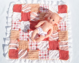 Small Doll Quilt Orange and Peach Doll Quilt Car Seat Blanket Chenille Patchwork Quilt Lovey Security Blanket Doll Blanket Doll Comforter