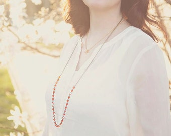 Long Beaded Necklace Tangerine