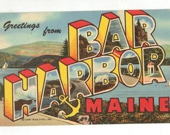 Linen Postcard, Greetings from Bar Harbor, Maine, Sailboats, Large Letter