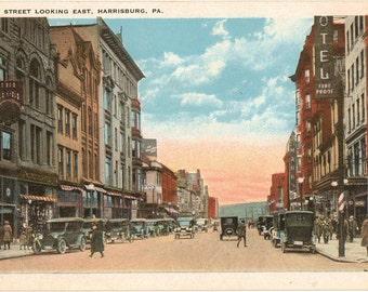 Vintage Postcard, Harrisburg, Pennsylvania, Market Street Looking East, ca 1915