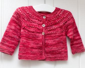 Hand Knit Baby Cardigan - Cherry Red - 0-3 months - luxury Merino Wool/Silk blend yarn, handmade baby clothes