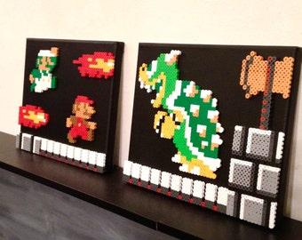 Perler Bead Super Mario Bros Vs Bowser Scene Retro Gaming 8 bit Pixel Art Set of Two
