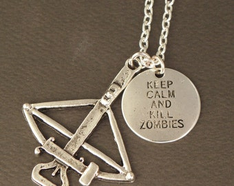 Keep Calm And Kill Zombies Crossbow Necklace For The Walking Dead Zombie Apocalypse - Zombie Survival Kit Jewellery - Zombie Hunter Necklace