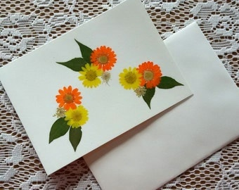 ALL OCCASION CARD - Orange and Yellow Daisies, Pressed Flowers Blank Stationary, Birthday, Get Well, Thank You Greeting Card, Frameable Card