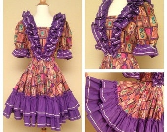 ON SALE Vintage Mexican Circle Skirt Western Swing Dress Rockabilly Pinups Size Medium - Loaded with Purple Ruffles Puffed Sleeves -