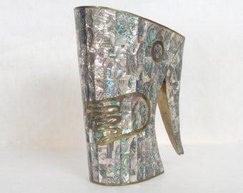 Salvador Teran Modern Mexican Abalone Brass Pitcher Made in Mexico Taxco Vase