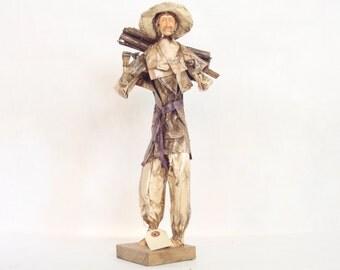 Vintage Mexican Paper Mache Folk Art Doll // Man Carrying Wood // Folk Art Figurines // Souvenir // Statues