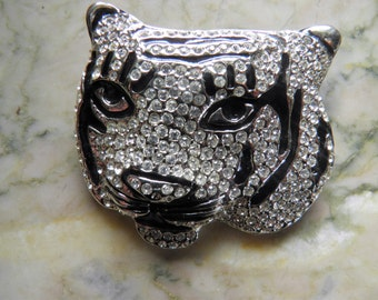 Figural Panther, Leopard or Tiger Head Brooch, Signed