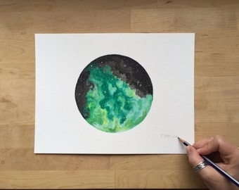 Green Nebula - 9x12 Watercolor Painting on Paper | Space | Cosmos | Stars | Fantasy