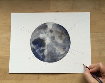 Abstract Moon - 9x12 Mixed Media Watercolor Painting on Paper | Illustration | Cosmos | Lunar | Space