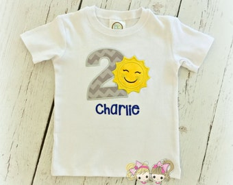 Boys sunshine birthday shirt - you are my sunshine themed birthday shirt - personalized birthday shirt with little sun - embroidered shirt