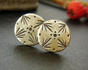 Gold brass studs. Stamped disc stud earrings. Gold tone boho jewelry.