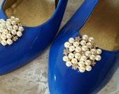 Wedding Vintage Style Shoe Clips, Bridal Shoe Clips, Rhinestone Shoe CLips, Pearl Shoe Clips, Clips for Wedding SHoes, Bridal SHoes -