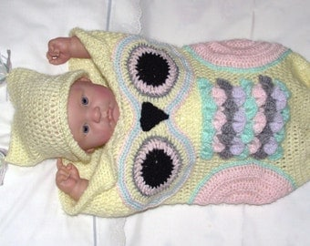 Owl Cocoon, sleeping bag matching hat Crochet Handmade for baby or Reborn