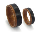 Set of two Cedro Wood and Carbon Fiber Wedding Rings