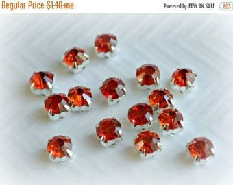 Sale 6mm Sew On Red Rhinestones.  Red Glass Buttons. Red Crystals. 10 Pieces. NEW Color!!!