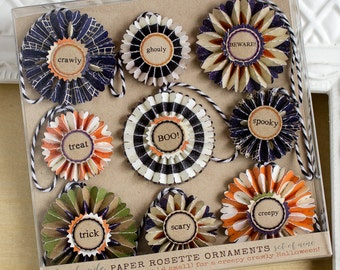 Paper Rosette Halloween Ornaments - Set of Nine - Halloween Decor - Paper Ornaments - Halloween Deocorations - Fall Ornaments - Trick Treat