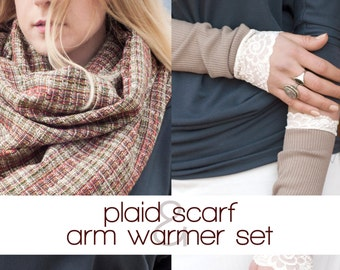 Gift for Her, Plaid Scarf Gloves Set, Cute Gifts, Gift Sets for Women, Gift for Her, Gifts for Mom, Best Friend Gift, Scarf Glove Set