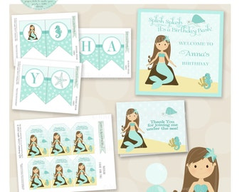 Aquamarine Mermaid Birthday Party Package- Printable PDF files. Shades of teal and aqua