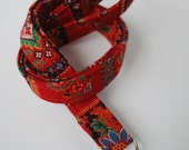Keychain lanyard. Red floral pattern on a red background  lanyard. ID badge lanyard. Lobster Claw Clasp