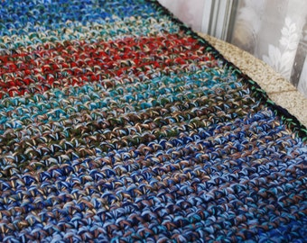 Multicolor handmade Rectangular Crochet Rug